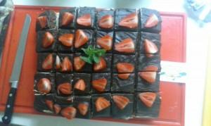 Moskovisch chocoladetaart met een koffiecremevulling.